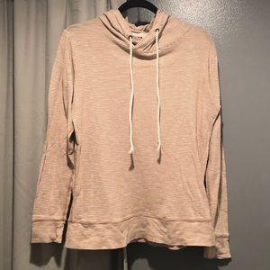 J. Crew Tan/Cream Striped Hooded Pullover Sz M EUC